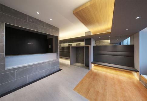 京都の眼科の受付待合は病院で平岡建築デザインのテナントビル診