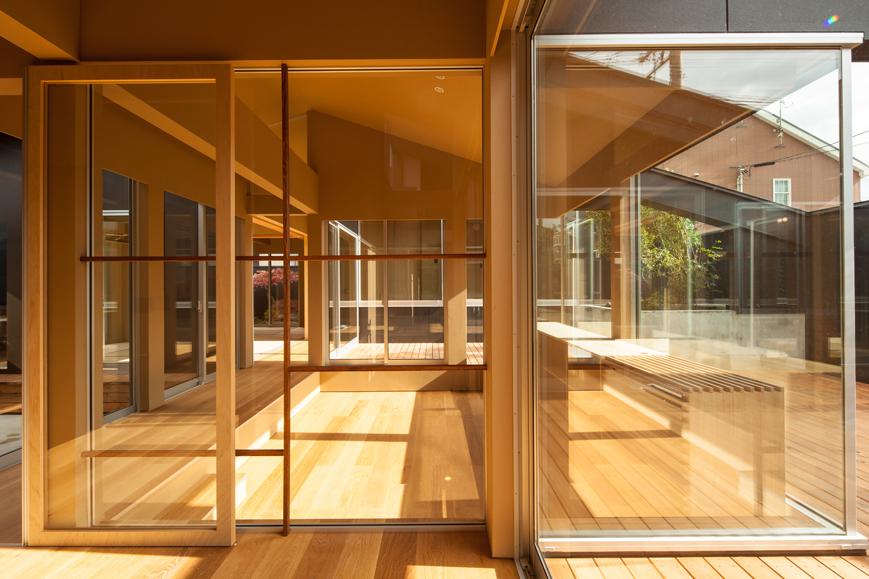 平屋と中庭と鎖樋の福井の和風住宅設計